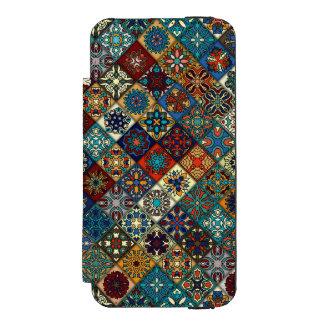 Vintages Patchwork mit Blumenmandalaelementen Incipio Watson™ iPhone 5 Geldbörsen Hülle