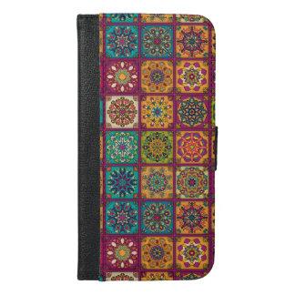 Vintages Patchwork mit Blumenmandalaelementen iPhone 6/6s Plus Geldbeutel Hülle