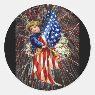 Vintages patriotisches Kind und Feuerwerke Runder Aufkleber