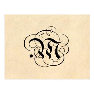 Vintages Pergamentpapier des Monogramm-Buchstabe-M Postkarte