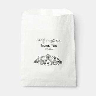 Vintages Pfau-Monogramm-Elfenbein BG Geschenktütchen