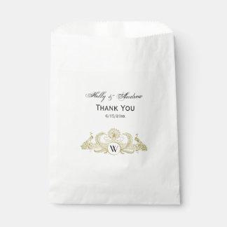 Vintages Pfau-Monogramm-Imitat-Goldelfenbein BG Geschenktütchen