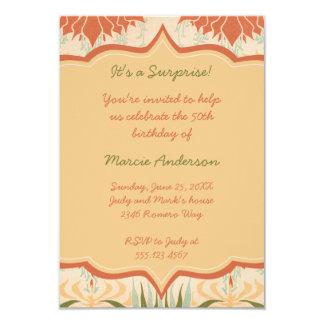 Vintages Pfirsich-Elfenbein-Grün-BlumenParty 8,9 X 12,7 Cm Einladungskarte