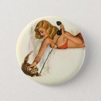 Vintages Pinup-Mädchen-ursprünglicher Farbton 19 Runder Button 5,1 Cm