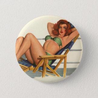 Vintages Pinup-Mädchen-ursprünglicher Farbton 22 Runder Button 5,1 Cm