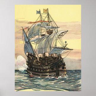 Vintages Piraten-Schiff Galleon, das den Ozean seg Poster