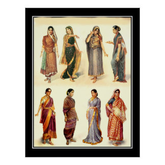 Vintages Plakat Mode-Indiens