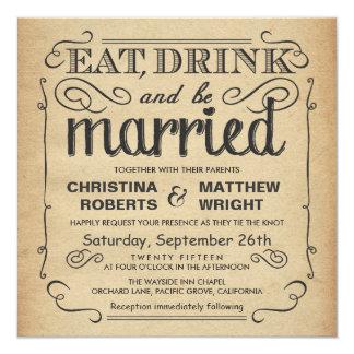 Vintages Plakat-rustikale Hochzeit - Quadrat Quadratische 13,3 Cm Einladungskarte