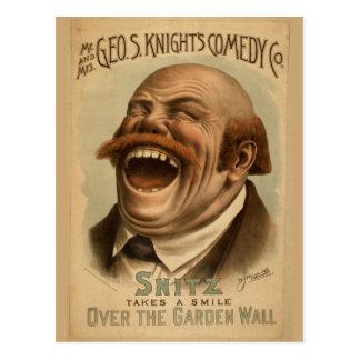 Vintages Plakat: Snitz über der Garten-Wand Postkarte