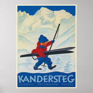 Vintages Plakat von den Schweizer Alpen