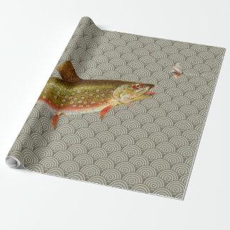 Vintages Regenbogenforelle-Fliegenfischen Geschenkpapierrolle