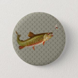 Vintages Regenbogenforelle-Fliegenfischen Runder Button 5,7 Cm