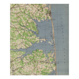 Vintages Rehoboth u. Bethany Beach DE Map (1944) Poster