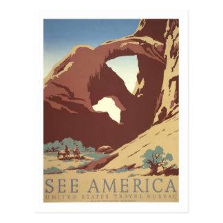 Vintages Reise-Plakat, Amerika Postkarte
