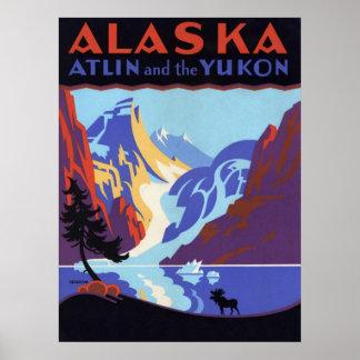 Vintages Reise-Plakat, Atlin und das Yukon, Alaska Poster