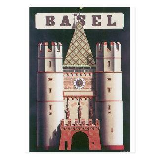 Vintages Reise-Plakat Basels Postkarte