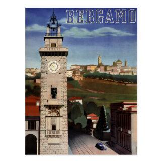 Vintages Reise-Plakat Bergamos wieder hergestellt Postkarte