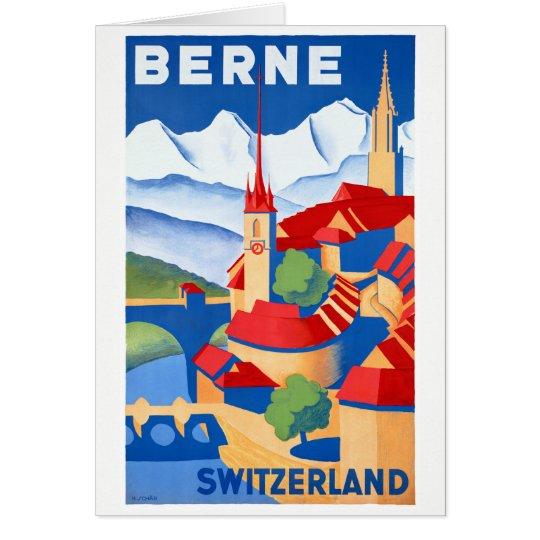 Vintages Reise-Plakat Berns die Schweiz wieder Grußkarte