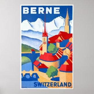 Vintages Reise-Plakat Berns die Schweiz wieder Poster