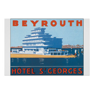 Vintages Reise-Plakat Beyrouth St. Georges Poster