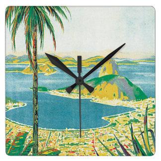 Vintages Reise-Plakat Brasiliens Uhr