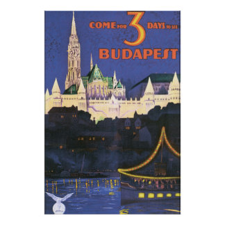 Vintages Reise-Plakat Budapests Poster