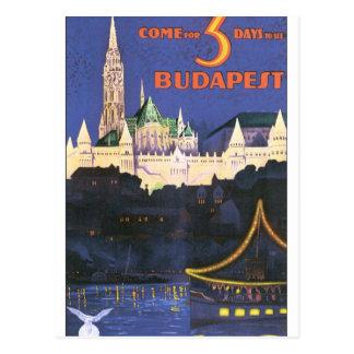 Vintages Reise-Plakat Budapests Postkarte