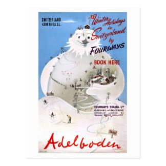 Vintages Reise-Plakat der Schweiz Adelboden Postkarte