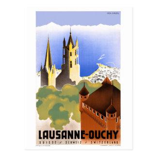 Vintages Reise-Plakat der Schweiz Lausanne Ouchy Postkarte