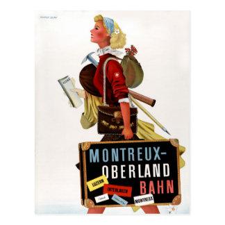 Vintages Reise-Plakat der Schweiz Postkarte