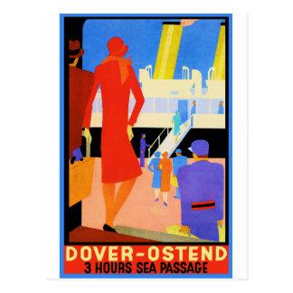 Vintages Reise-Plakat: Dover Ostende Postkarte