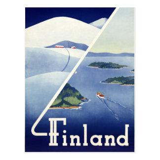 Vintages Reise-Plakat Finnlands wieder hergestellt Postkarten
