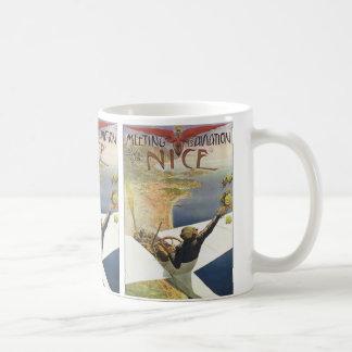 Vintages Reise-Plakat, Flugzeug über Nizza Kaffeetasse