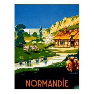 Vintages Reise-Plakat Frankreichs Normandie wieder Postkarte