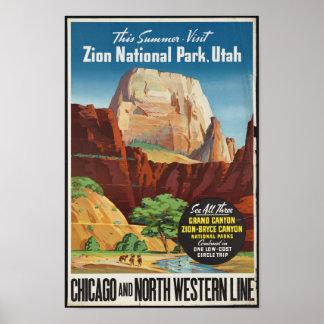 Vintages Reise-Plakat für Zion Nationalpark Poster