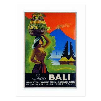 Vintages Reise-Plakat Indonesiens Bali Postkarte