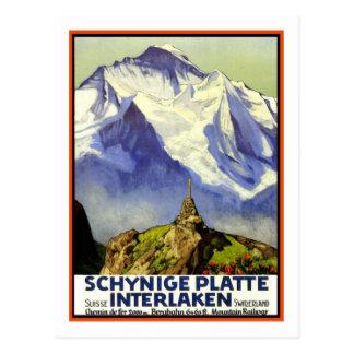 Vintages Reise-Plakat, Interlaken Postkarte