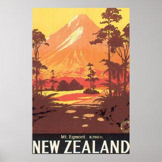 Vintages Reise-Plakat Mt. Egmont Neuseeland Poster