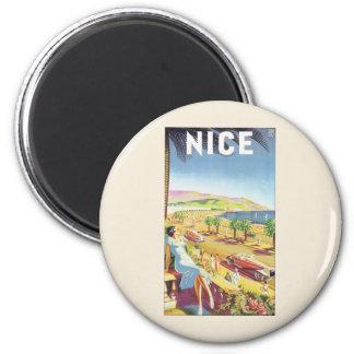 Vintages Reise-Plakat, Nizza, Frankreich Runder Magnet 5,1 Cm
