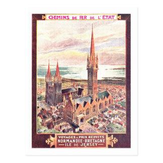 Vintages Reise-Plakat, Normandie Postkarte