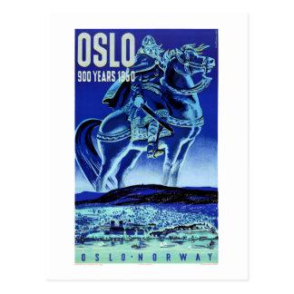 Vintages Reise-Plakat Oslos Norwegen wieder Postkarte