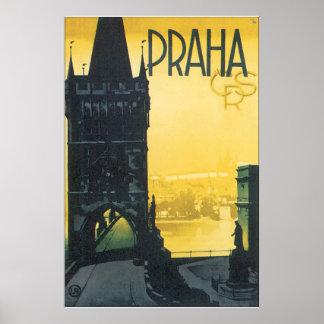 Vintages Reise-Plakat Prag Poster