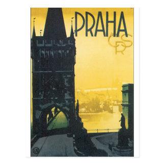Vintages Reise-Plakat Prag Postkarte
