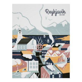Vintages Reise-Plakat Reykjavik, Island Poster