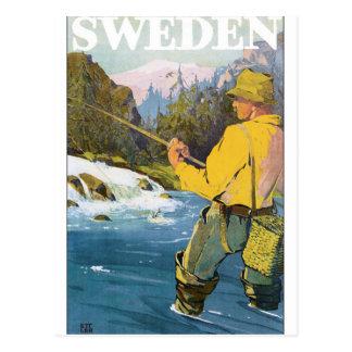 Vintages Reise-Plakat Schwedens Postkarte