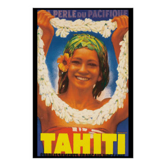 Vintages Reise-Plakat Tahitis Poster