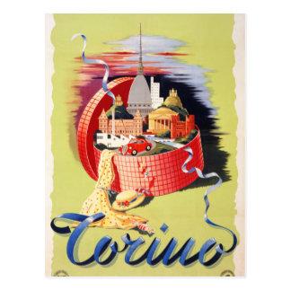 Vintages Reise-Plakat Torino Turin Italien wieder Postkarte