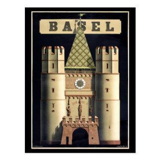 Vintages Reiseplakat Basels wieder hergestellt Postkarte