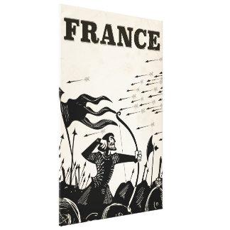 Vintages Reiseplakat Frankreichs. klassisches Leinwanddruck