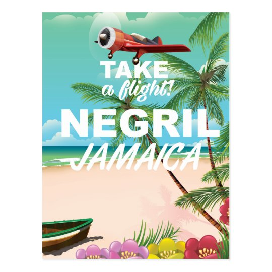 Vintages Reiseplakat Negril Strand-Jamaikas Postkarte